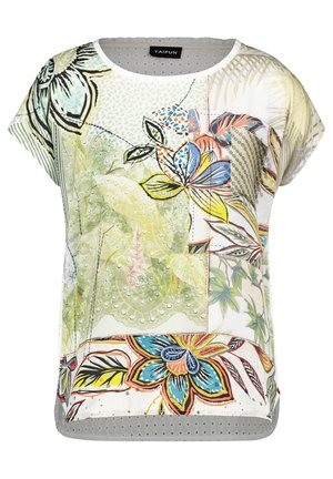 MIT MATERIAL-MIX - Print T-shirt - offwhite gemustert