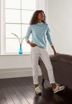 Long sleeved top - eisblau, polkatupfen