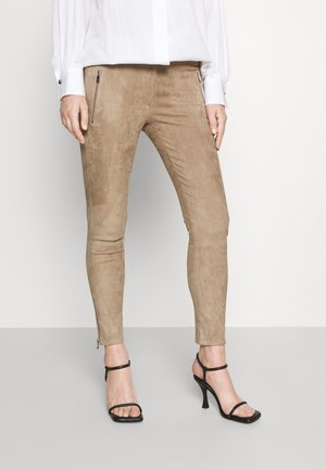 Leather trousers - taupe