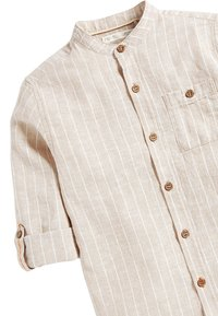 Next - NEUTRAL STRIPE ROLL SLEEVE GRANDAD - Shirt - beige - 2