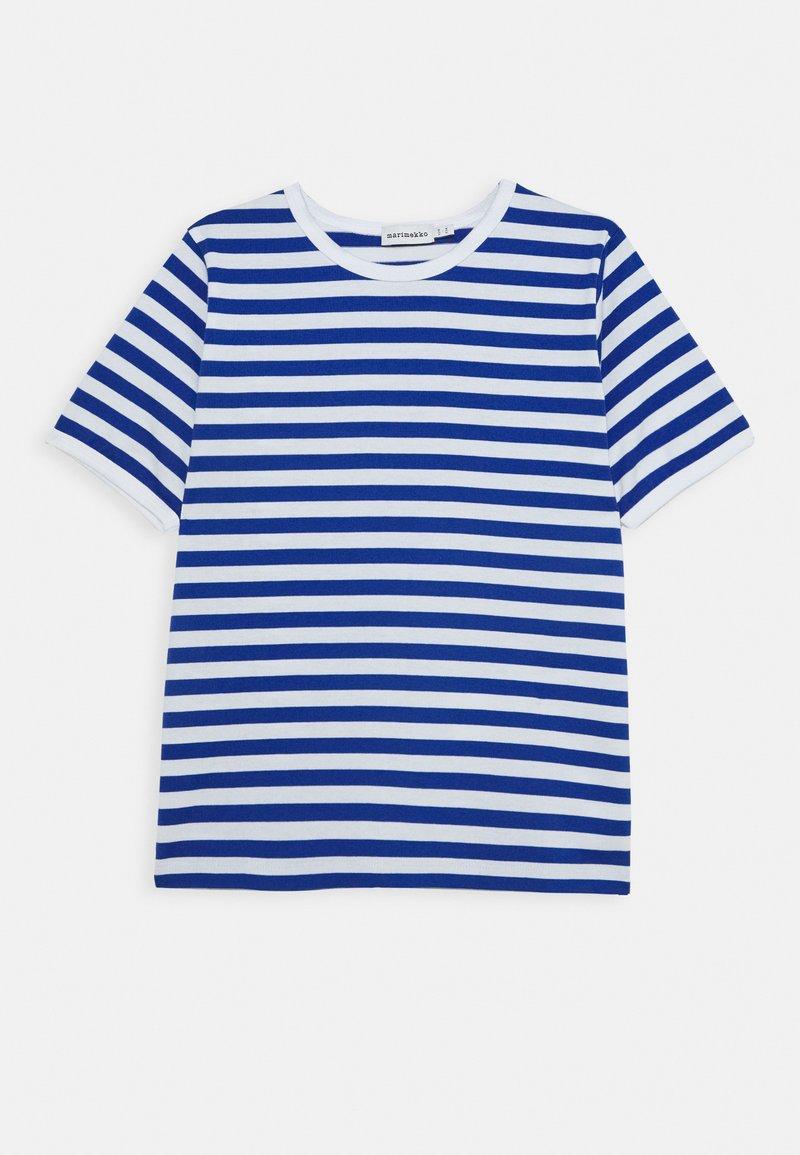 Marimekko - LASTEN LYHYTHIHA - T-shirt imprimé - white/blue