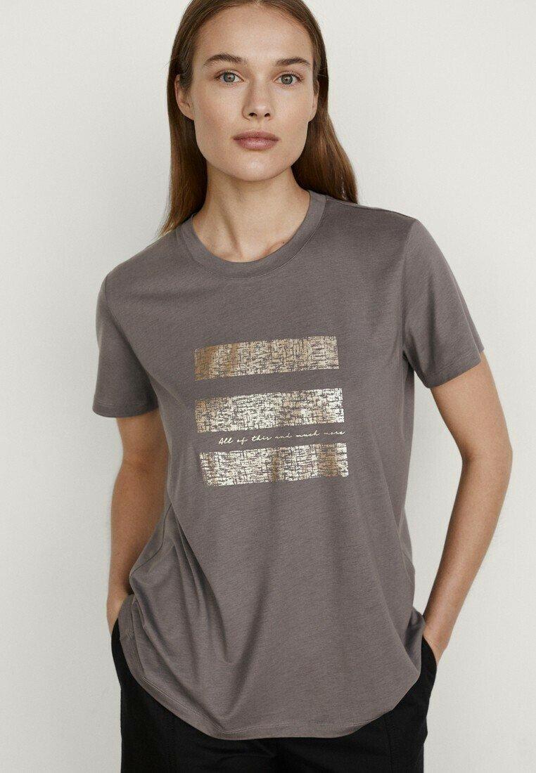 Massimo Dutti - T-shirt imprimé - grey
