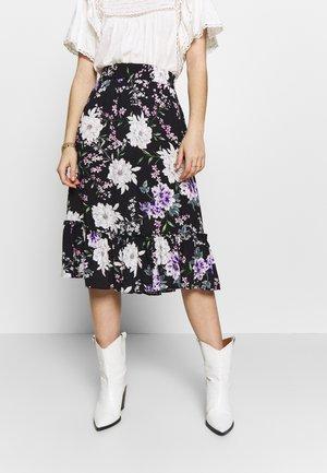 JDYSTARR LIFE FRILL MIDI SKIRT - A-line skirt - black/rose