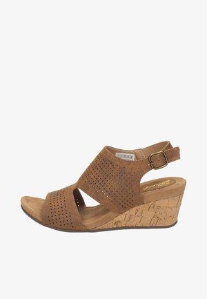 CALI - Wedge sandals - cognac