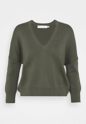 BIRDY V NECK - Jumper - beetle green