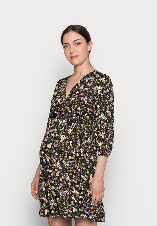 FLORAL FRILL WRAP MINI - Korte jurk - black pattern