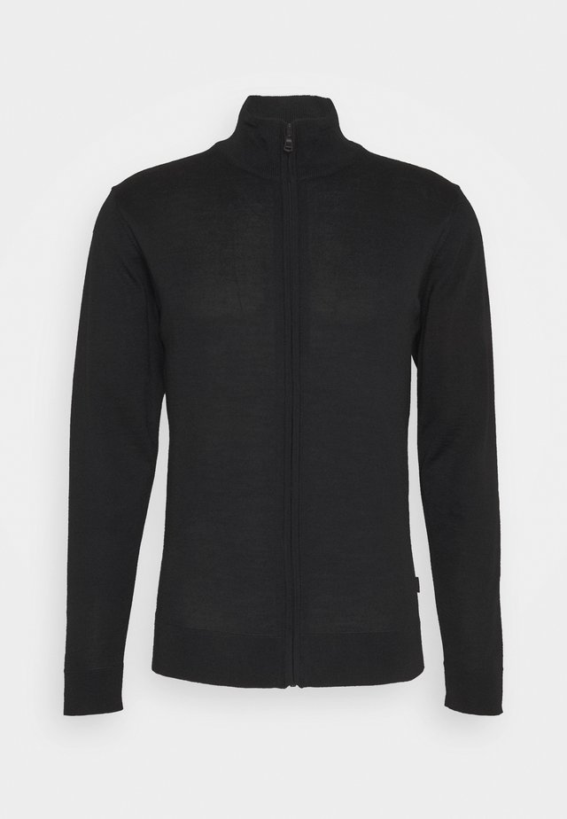 KARLO MERINO ZIPCARDIGAN - Strickjacke - anthracite black