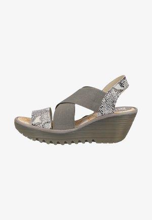 LONDON  - Sandalen met sleehak - offwhite/piombo