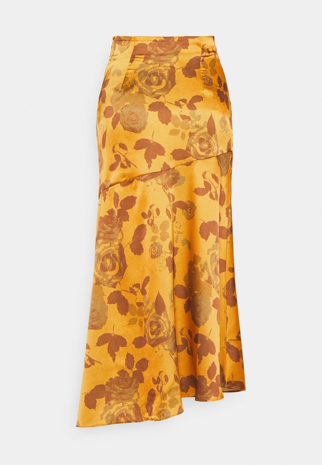 ASYMMETRICAL TIERED MIDAXI SKIRT WITH FRONT SPLIT - Jupe trapèze - ochre/rose