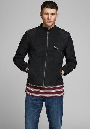 Faux leather jacket - caviar
