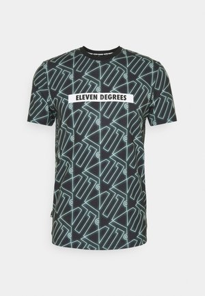 ALL OVER PRINT  - Print T-shirt - black/glacier green