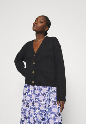 CHUNKY WOOL BLEND CARDIGAN - Cardigan - black