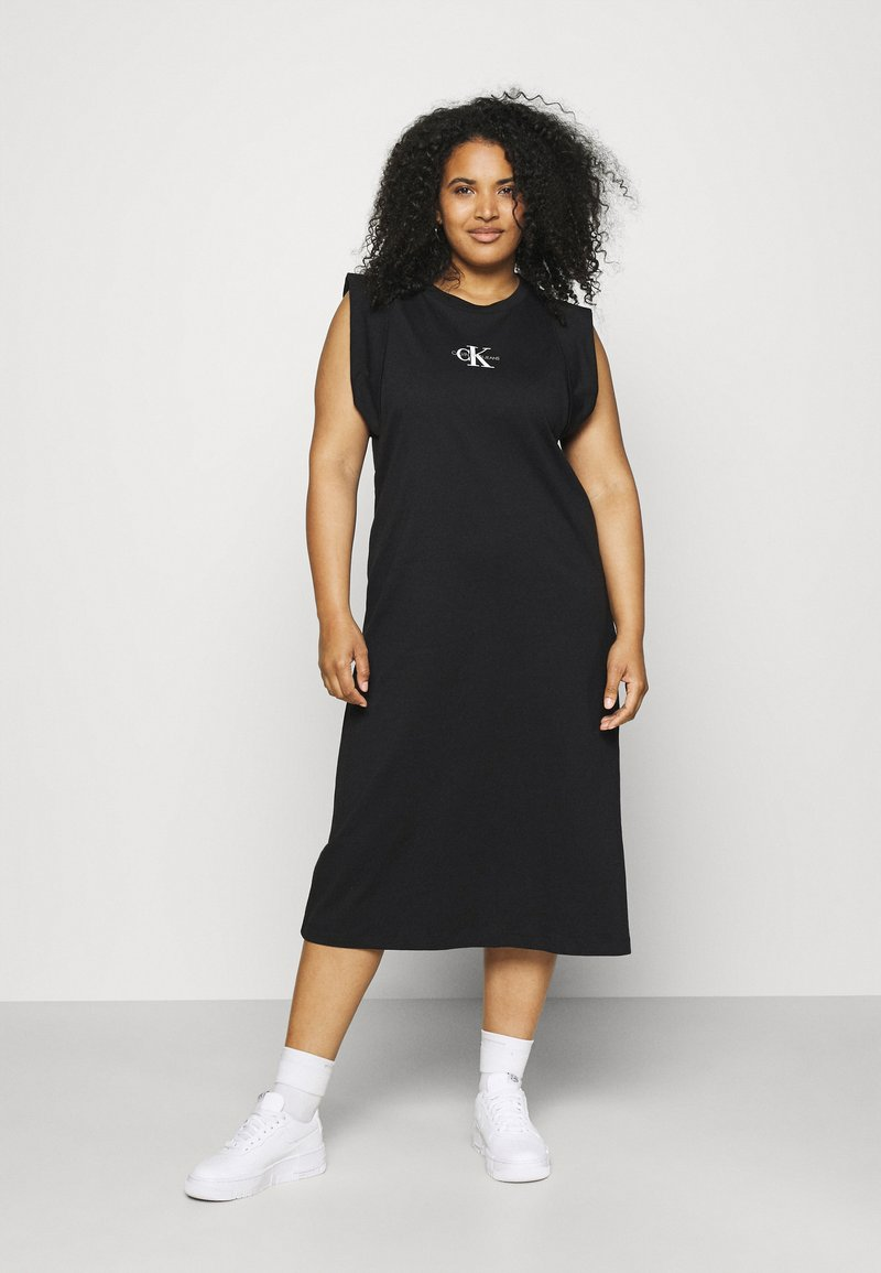 Calvin Klein Jeans Plus - KNOTTED T-SHIRT DRESS - Jerseykjoler - black