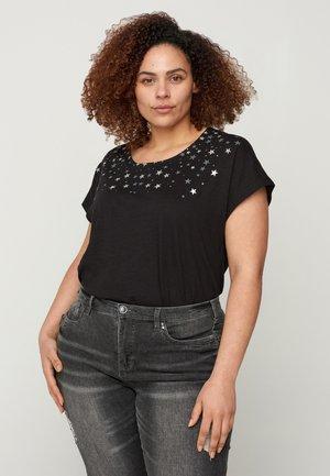 Print T-shirt - black stars