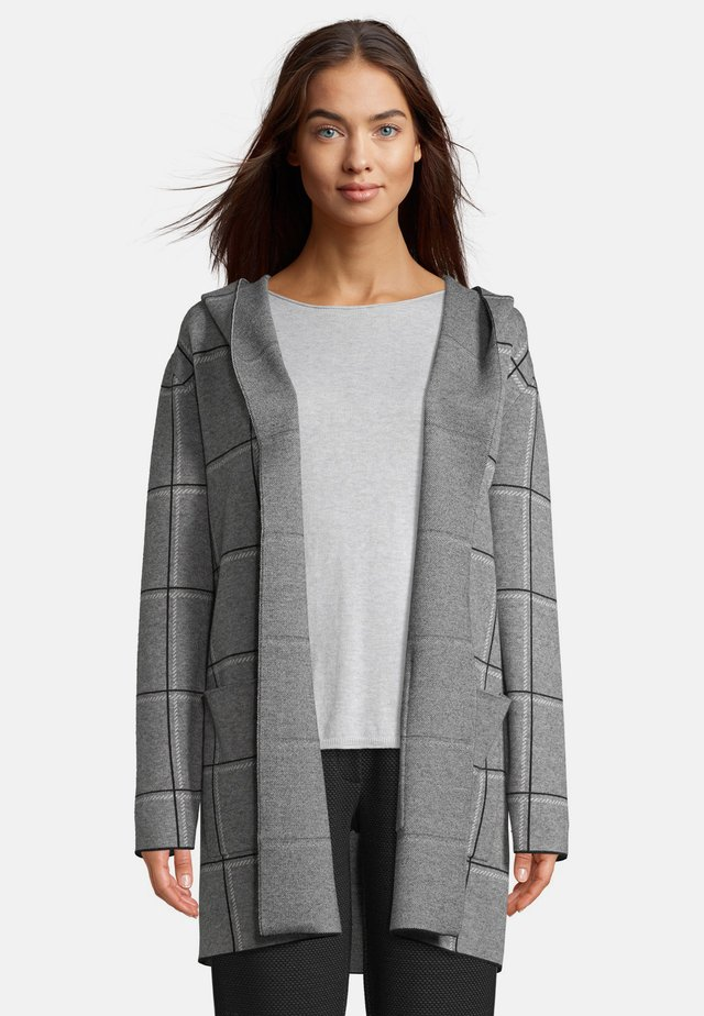 MIT KAPUZE - Cardigan - grau/schwarz