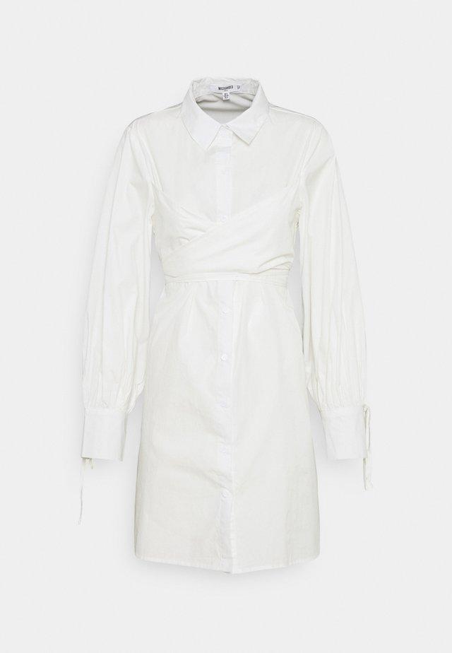TIE WRAP DETAIL SHIRT DRESS - Shirt dress - white