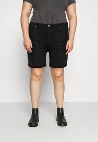 ONLY Carmakoma - CARLAOLA LIFE - Denim shorts - black - 0