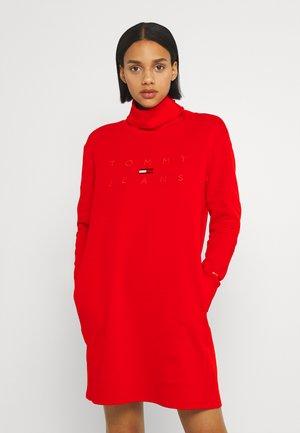MOCK NECK LOGO DRESS - Jersey dress - deep crimson