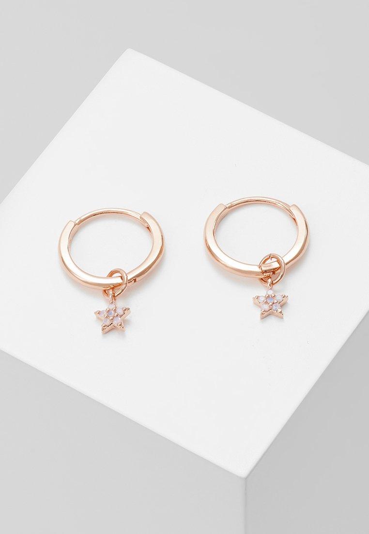 Astrid & Miyu - MYSTIC STAR PENDANT EARRINGS HOOPS - Earrings - rosegold-coloured