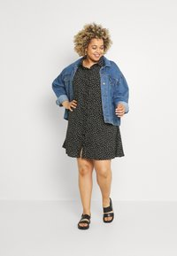 Glamorous Curve - MINI DRESS WITH COLLAR - Shirt dress - black - 1