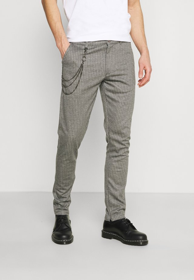 SDBARRO ZIPPER STRIPE - Trousers - dark grey