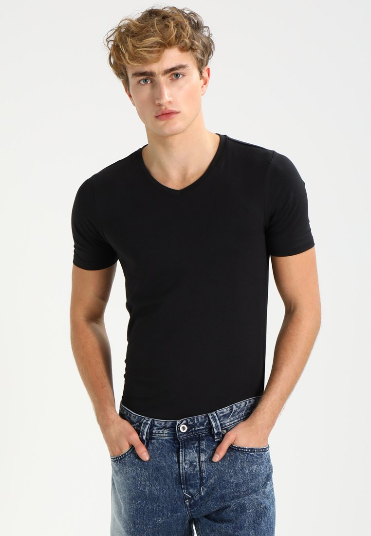 Only & Sons - ONSBASIC SLIM V-NECK - T-shirt - bas - black