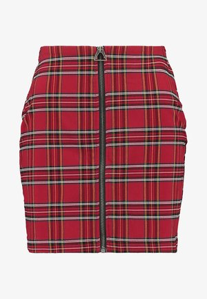 LADIES SHORT CHECKER SKIRT - Mini skirt - red/black