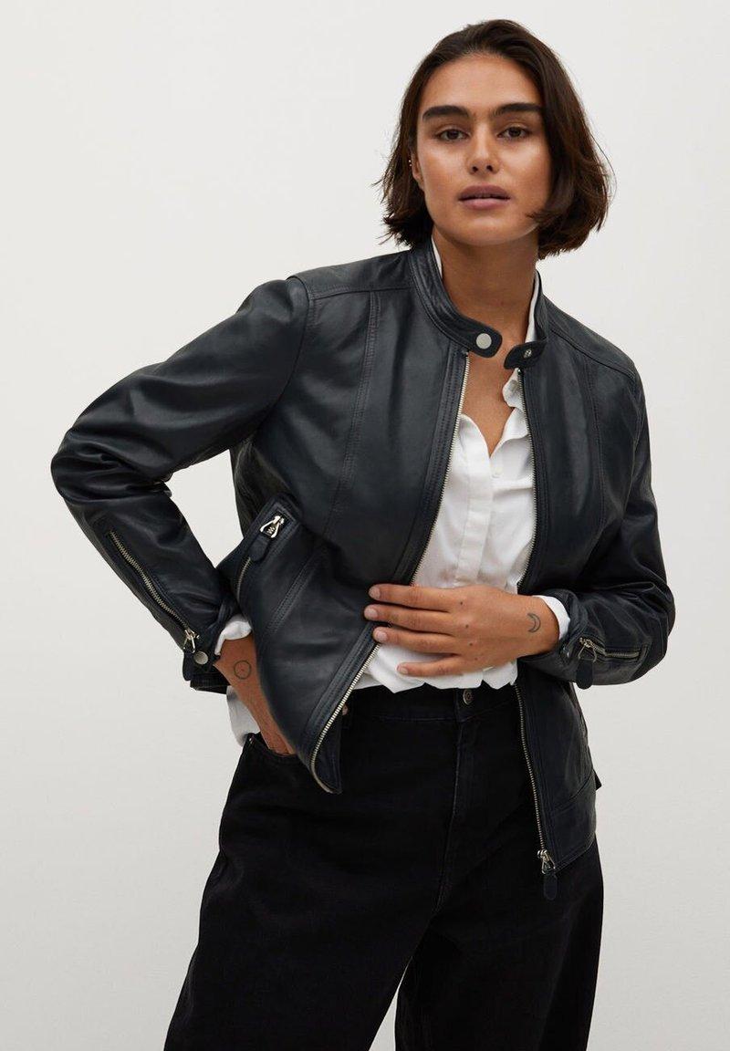 Violeta by Mango - CHELSEA7 - Leather jacket - dunkles marineblau