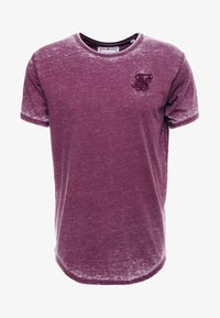SIKSILK - BURNOUT ROLL SLEEVE TEE - T-shirt imprimé - burg - 3
