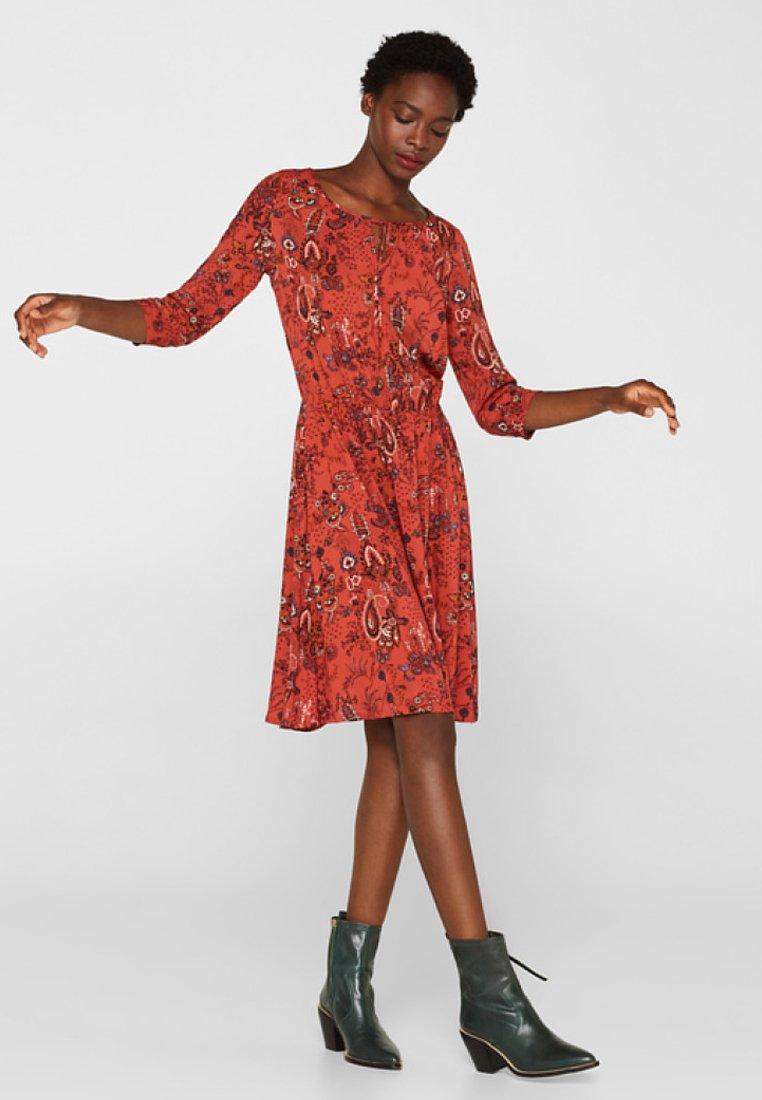 edc by Esprit - MIT ALLOVER-PRINT - Day dress - terracotta