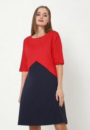 LOLITA - Jersey dress - blau, koralle