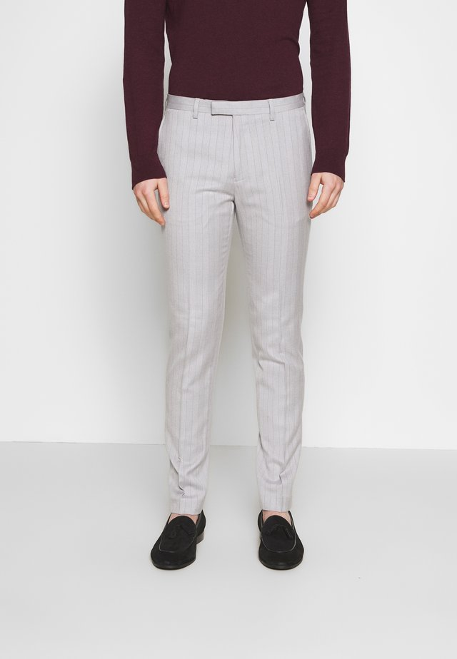 BONE STRIPE TROUSER SKINNY - Suit trousers - grey