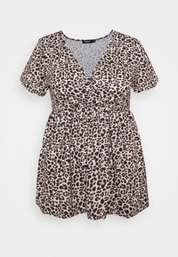 CAPSULE by Simply Be - WRAP SWING TUNIC - Long sleeved top - animal - 0