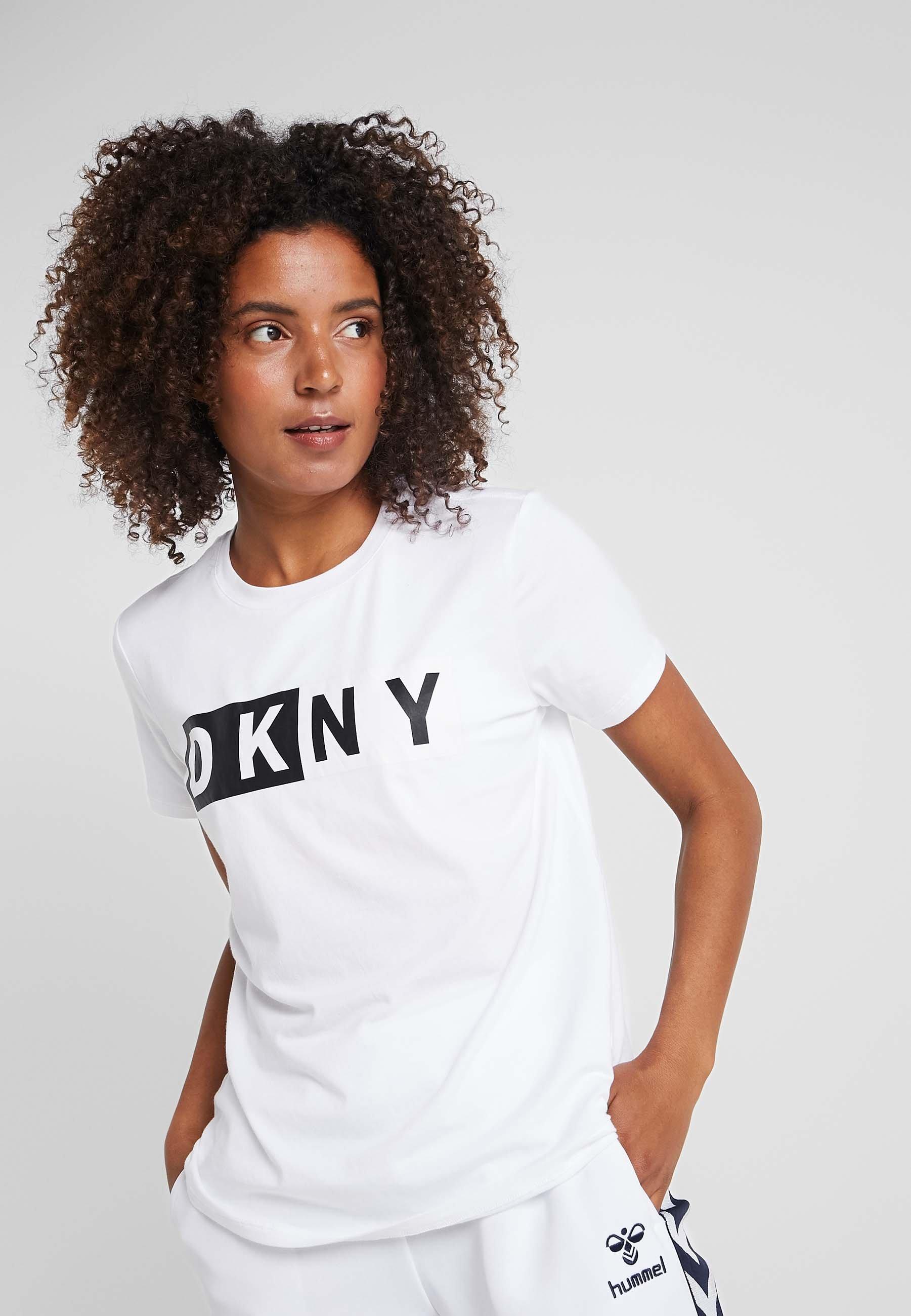 Women CREW NECK SHORT SLEEVE TWO TONE LOGO - Print T-shirt