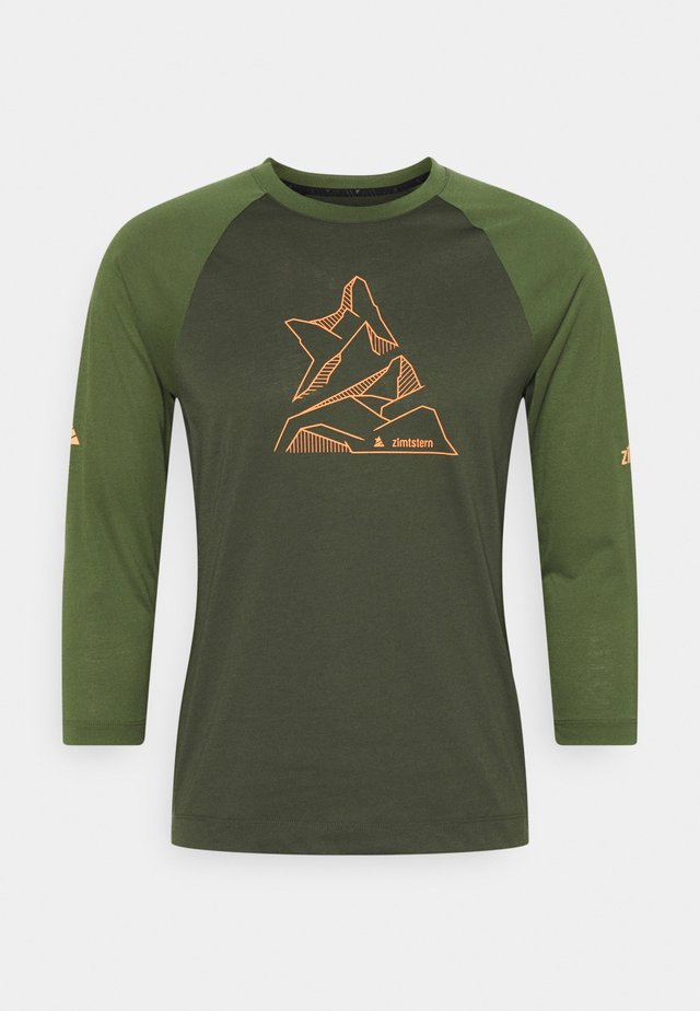 PURE FLOWZ SHIRT 3/4 MENS - Tekninen urheilupaita - forest night/bronze green