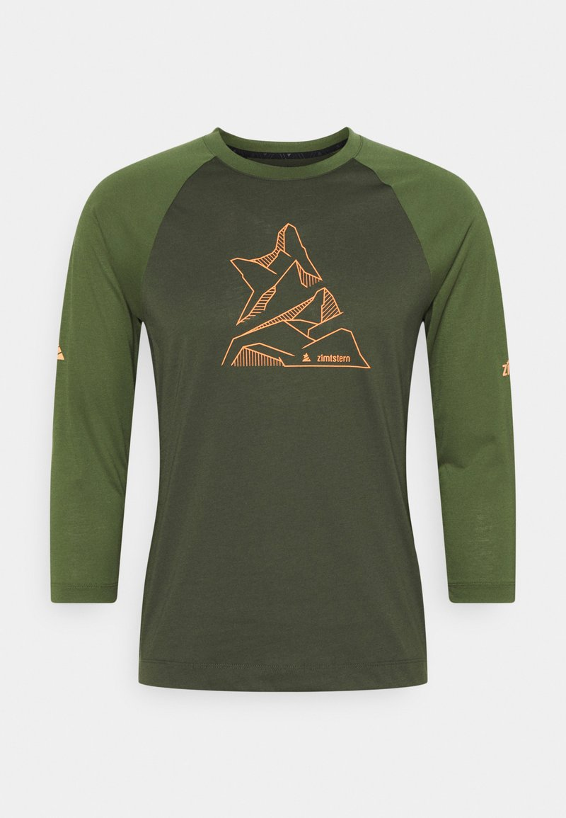 Zimtstern - PURE FLOWZ SHIRT 3/4 MENS - Funkční triko - forest night/bronze green
