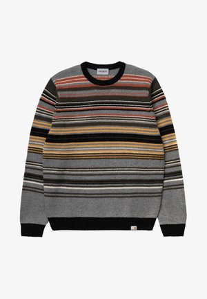 Jumper - gordon stripe dark grey heather