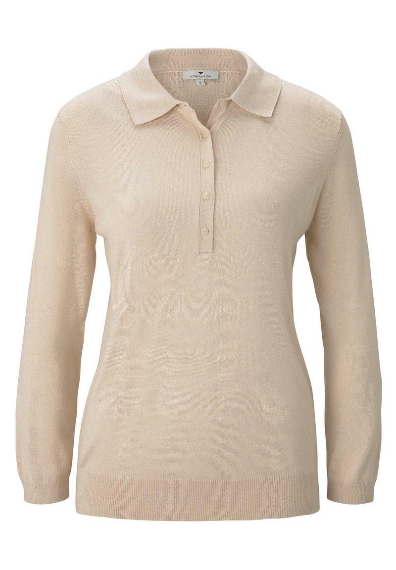 TOM TAILOR - PULLOVER & STRICKJACKEN PULLOVER MIT POLOKRAGEN - Polo shirt - silky vanilla melange