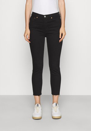 HIGH RISE ANKLE CROP - Jeans Skinny Fit - black