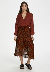 InWear - A-line skirt - cayenne poetic flower - 1