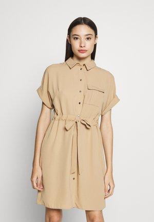 FLORAL DRESS - Denim dress - beige