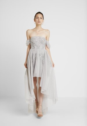 EMBELLISHED HIGH LOW BARDOT DRESS - Iltapuku - soft grey