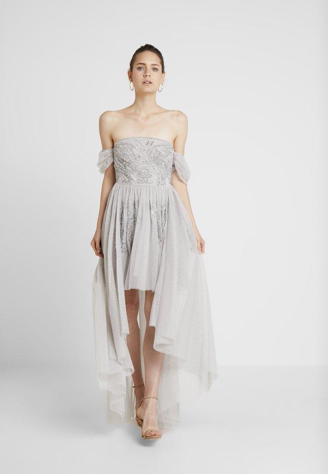 EMBELLISHED HIGH LOW BARDOT DRESS - Iltapuku - soft grey