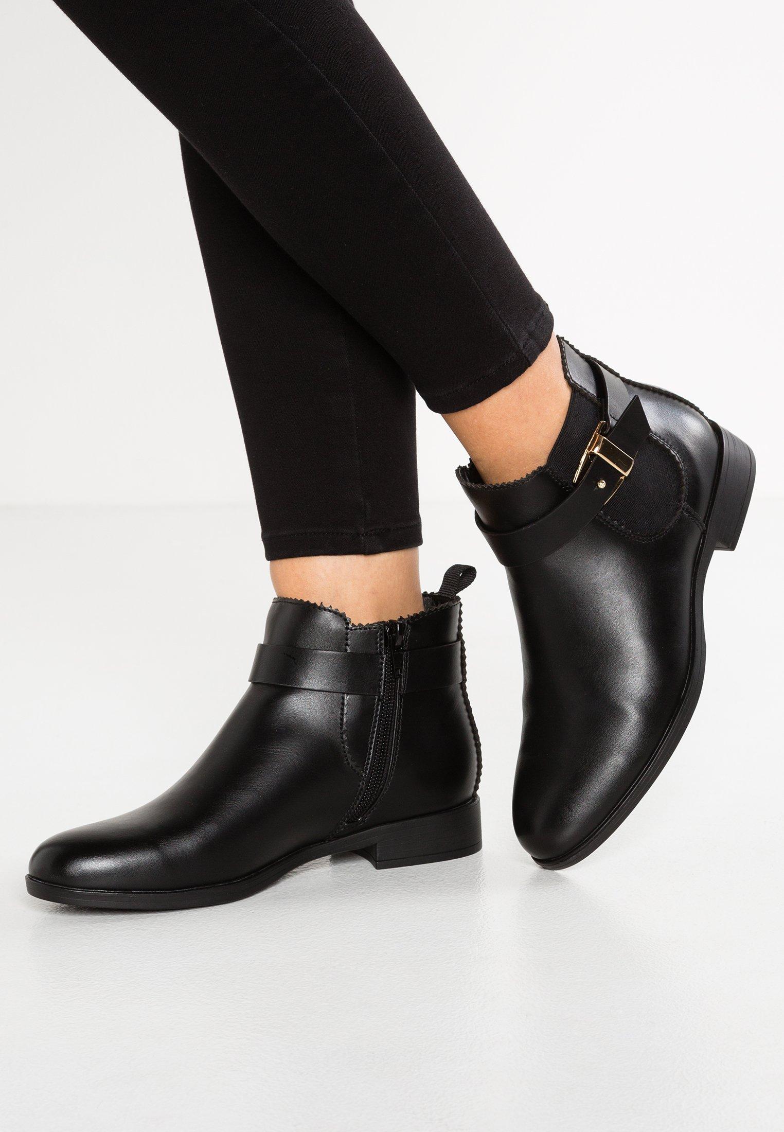 bottine noir femme classique talon plat