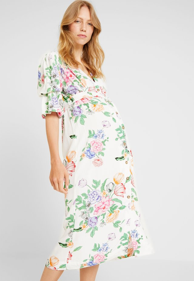 FRIEDA FLORAL PUFF MIDI - Shirt dress - white