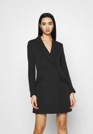 BUTTON SIDE BLAZER DRESS - Shift dress - black
