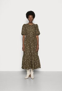 Marc O'Polo DENIM - DRESS PUFF SLEEVE - Maxi dress - multi/burnished logs - 0
