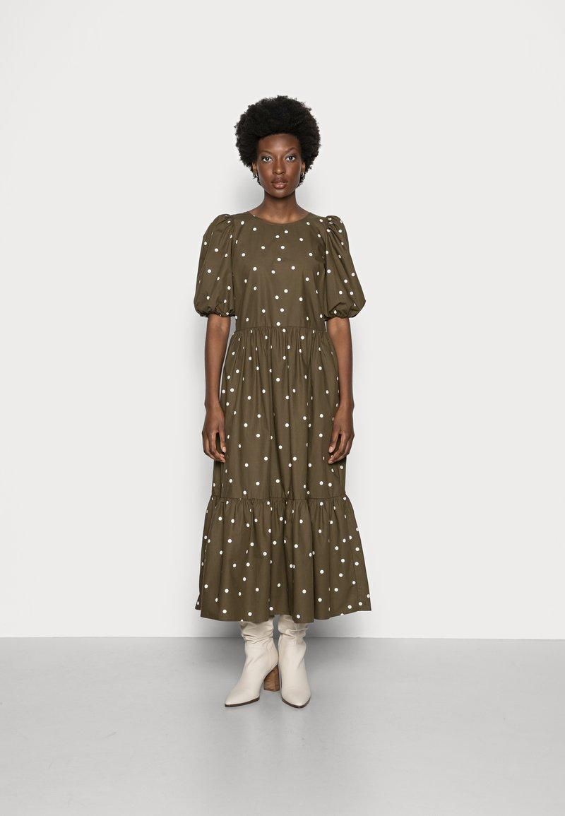 Marc O'Polo DENIM - DRESS PUFF SLEEVE - Maxi dress - multi/burnished logs