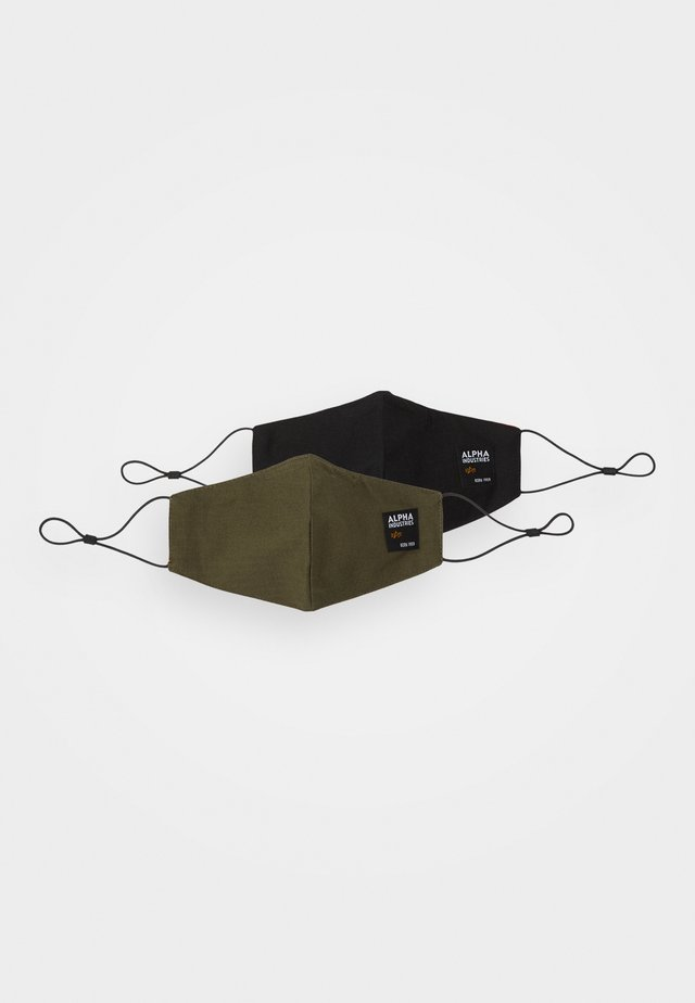 LABEL RIPSTOP FACE MASK UNISEX 2 PACK - Munnbind i tøy - black/khaki