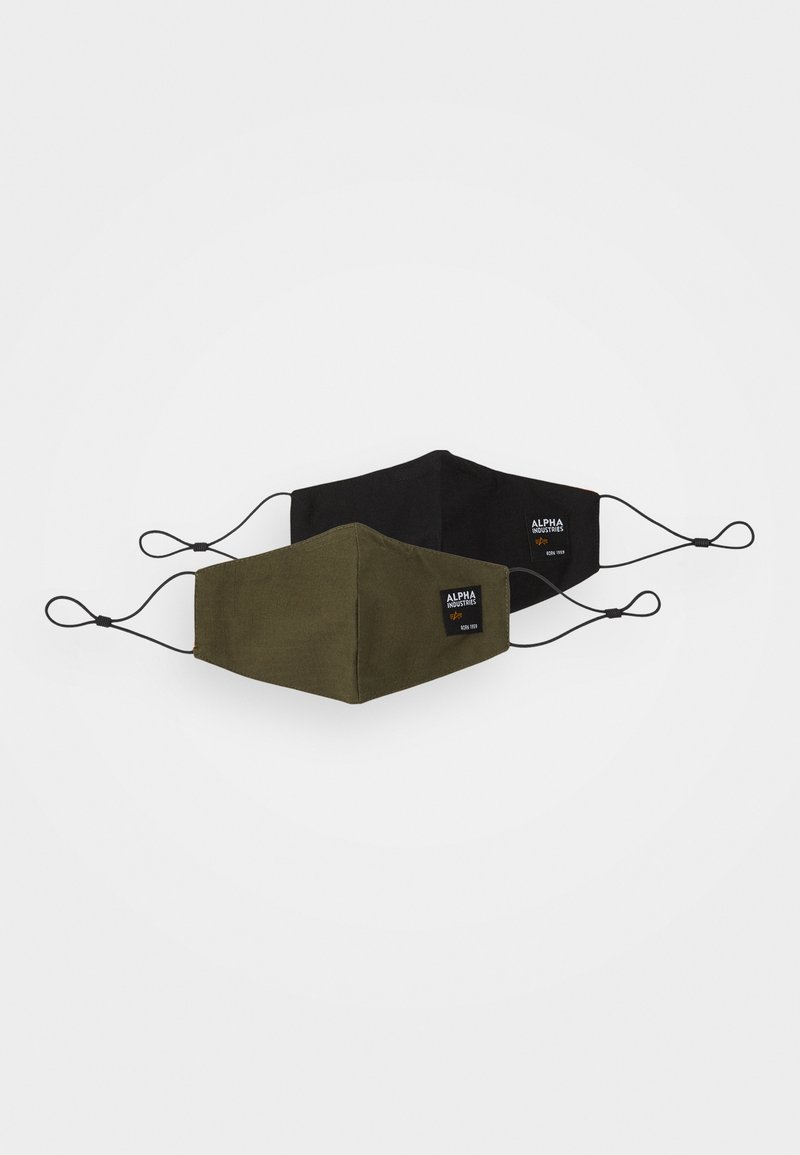 Alpha Industries - LABEL RIPSTOP FACE MASK UNISEX 2 PACK - Látková maska - black/khaki